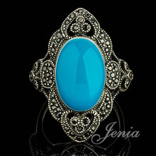 JENIA High Quality Antique Silver Plated Turquoise Ring Retro Marcasite Tibet Silver Nepal Ring for Women XR257