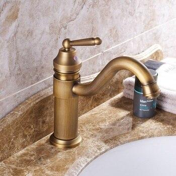 European Antique Kitchen Faucets Brass Brushed Gold Bathroom Faucet Swivel Single Handle Single Hole  Crane Sink Taps Hot Cold