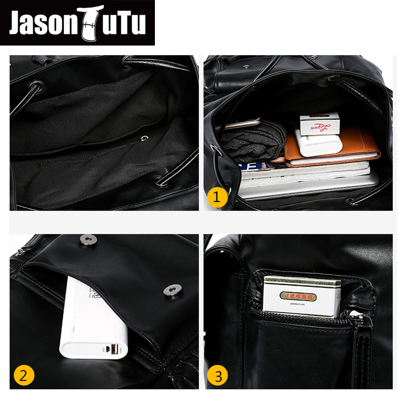 20c8ec4a3f JASON TUTU Men s Anti theft drawstring laptop backpack good quality PU  Leather Black Backpack male bag pack rugzak B697-in Backpacks from Luggage    Bags on ...