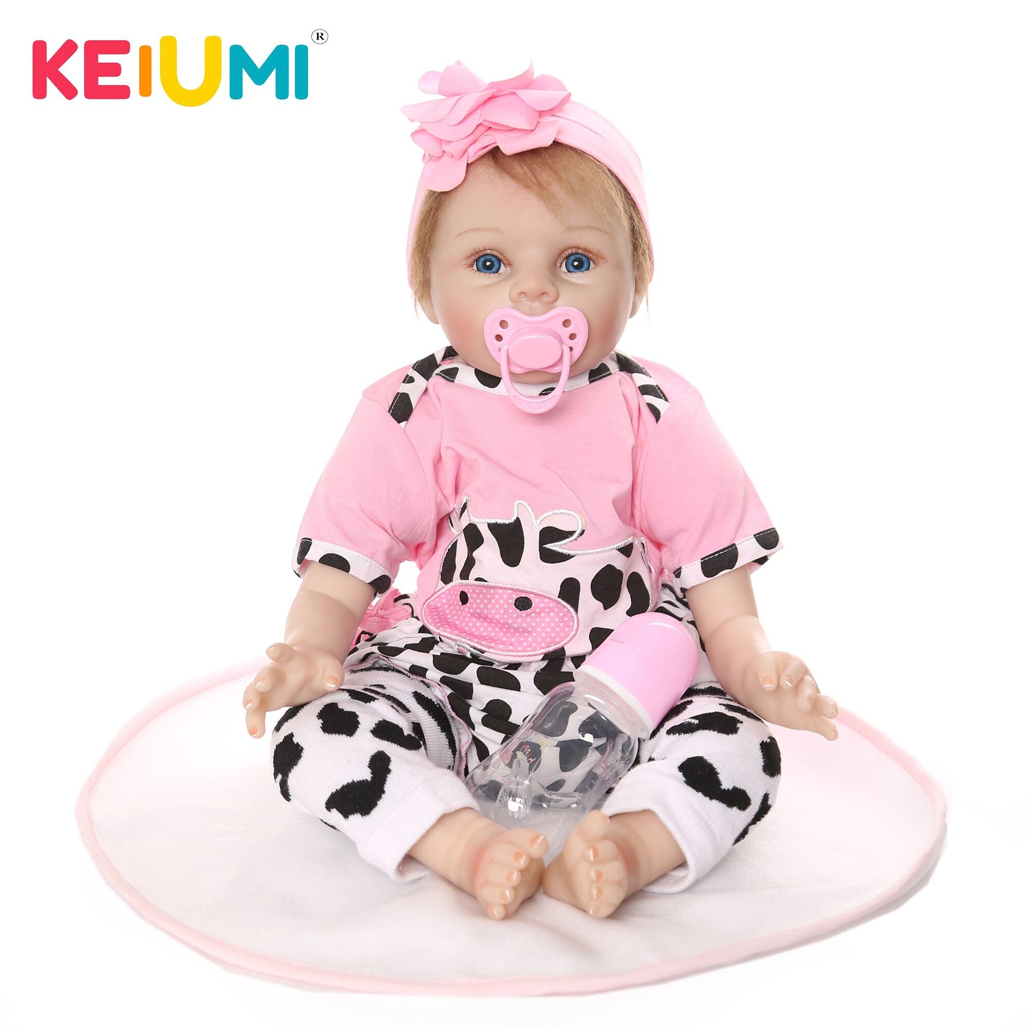 KEIUMI 2019 22 pouces poupées en peluche Reborn bébé poupée réaliste 55 cm Reborn fille jouets pour enfant en bas âge Playmate enfants cadeau d'anniversaire