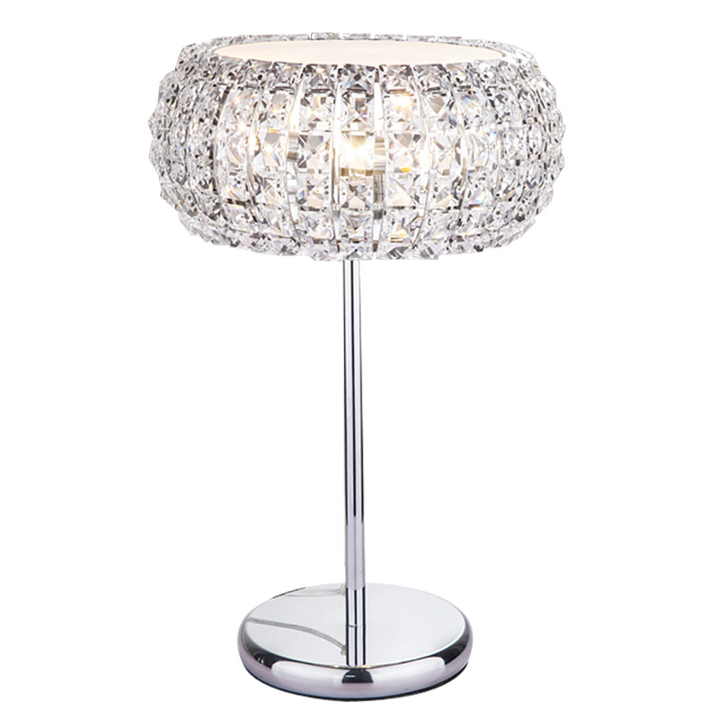 Modern Crystal Table Lamps For Living Room Bedroom Iron Chrome Lamp