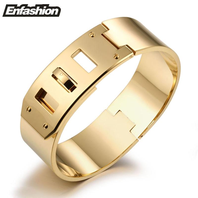 Enfashion Jewelry Punk Wide Belt Buckle Cuff Bracelet Gold color Stainless Steel Bangles Bracelets For Women bracelet Pulseiras punk style multilayered cuff bracelet for women