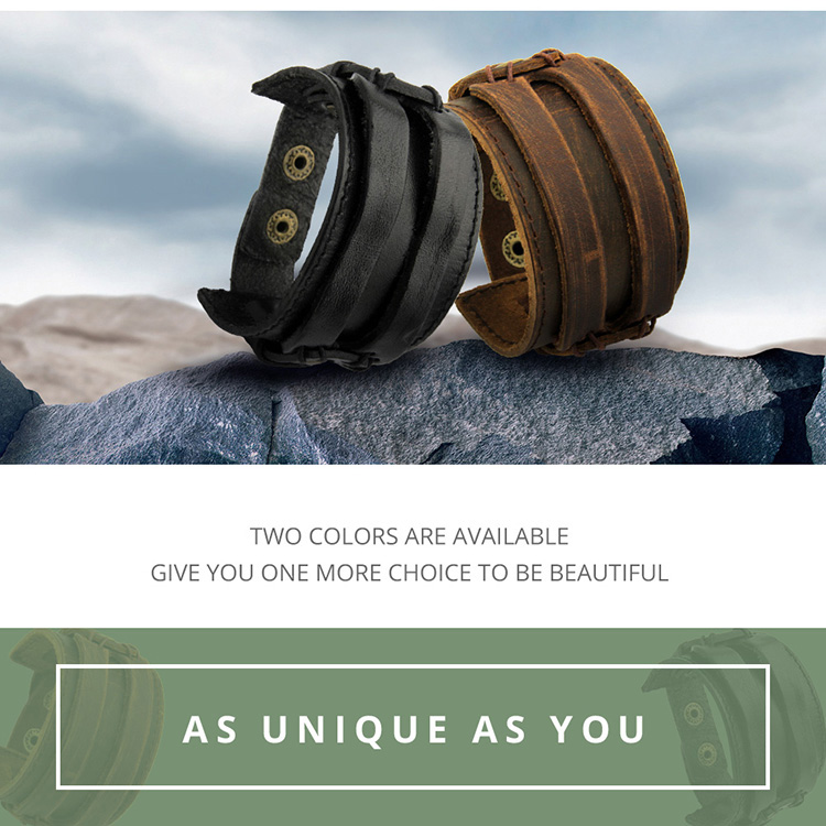 BAMOER Leather Cuff Double Wide Bracelet Rope Bangles Brown for Men Fashion Man Bracelet Unisex Jewelry Gift PI0296 HTB1vzCOjh6I8KJjSszfq6yZVXXaq
