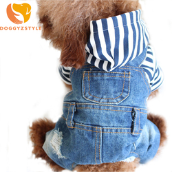 Denim Stripe Pet Dog Jumpsuits Puppy Cat Hoodie Jean Coat Four Feet Clothes For Small Dogs Teddy Yorkies Sweatshirt DOGGYZSTYLE