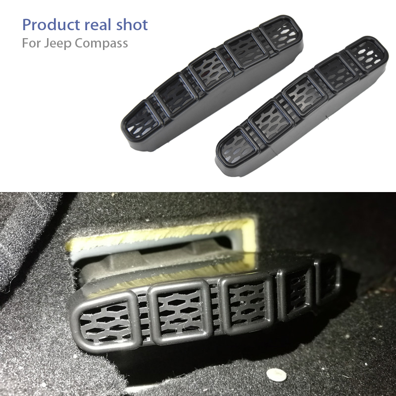 2pcs For 2017 <font><b>2018</b></font> <font><b>Jeep</b></font> <font><b>Compass</b></font> MP Car Under Seat Air Conditioner Air Outlet Duct Vent Protective Cover Grill Auto <font><b>Accessories</b></font> image