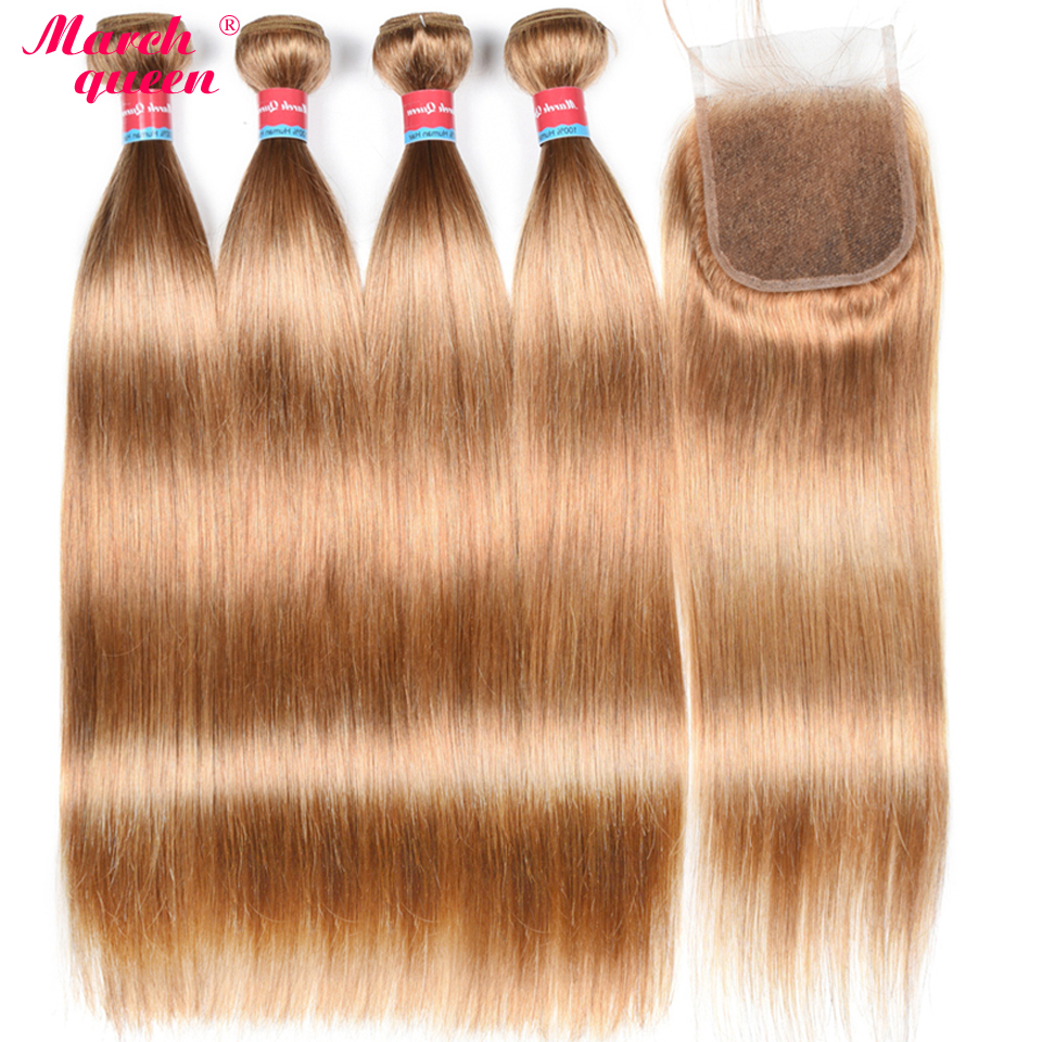 Hair Extensions & Wigs Human Hair Weaves March Queen Malaysian Straight Hair With 4*4 Lace Closure #27 Honey Blonde Human Hair Weave Extensions 4 Bundles With Closure