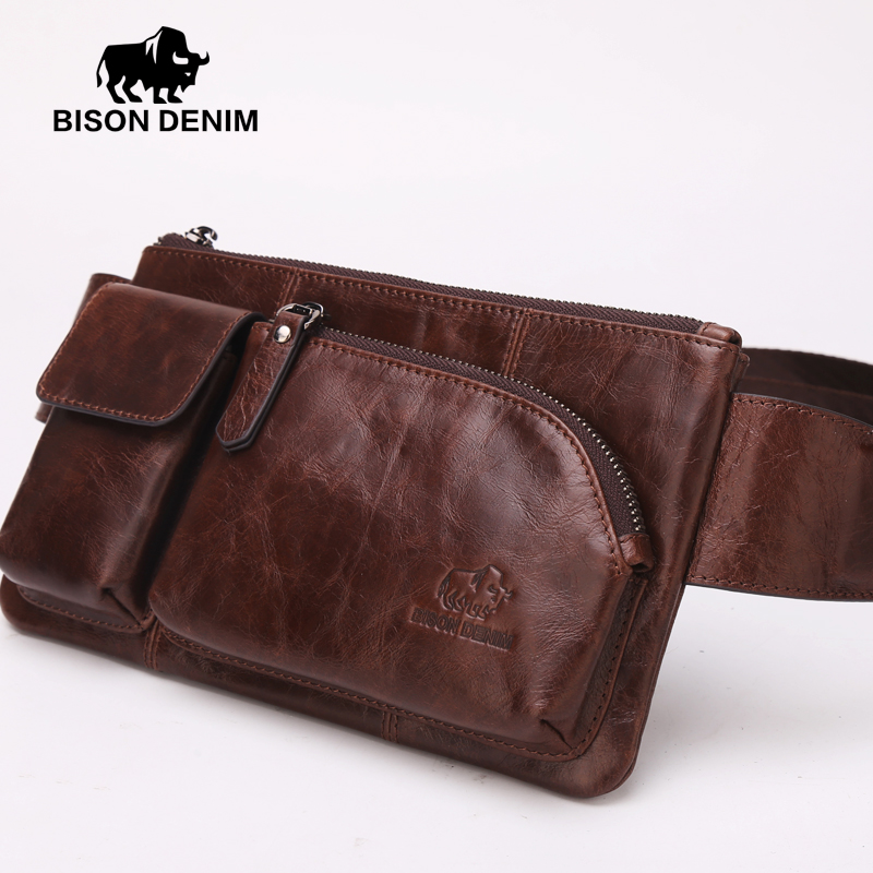 ФОТО Bison Denim italian style leather Brown bags designer high quality genuine leather Waist bag for Men fanny pack