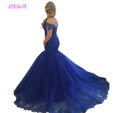 Royal Blue Mermaid Plus Size Prom Dresses 2019 Off Shoulder Long Evening Gowns Charming Lace Appliques Beaded Formal Party Dress