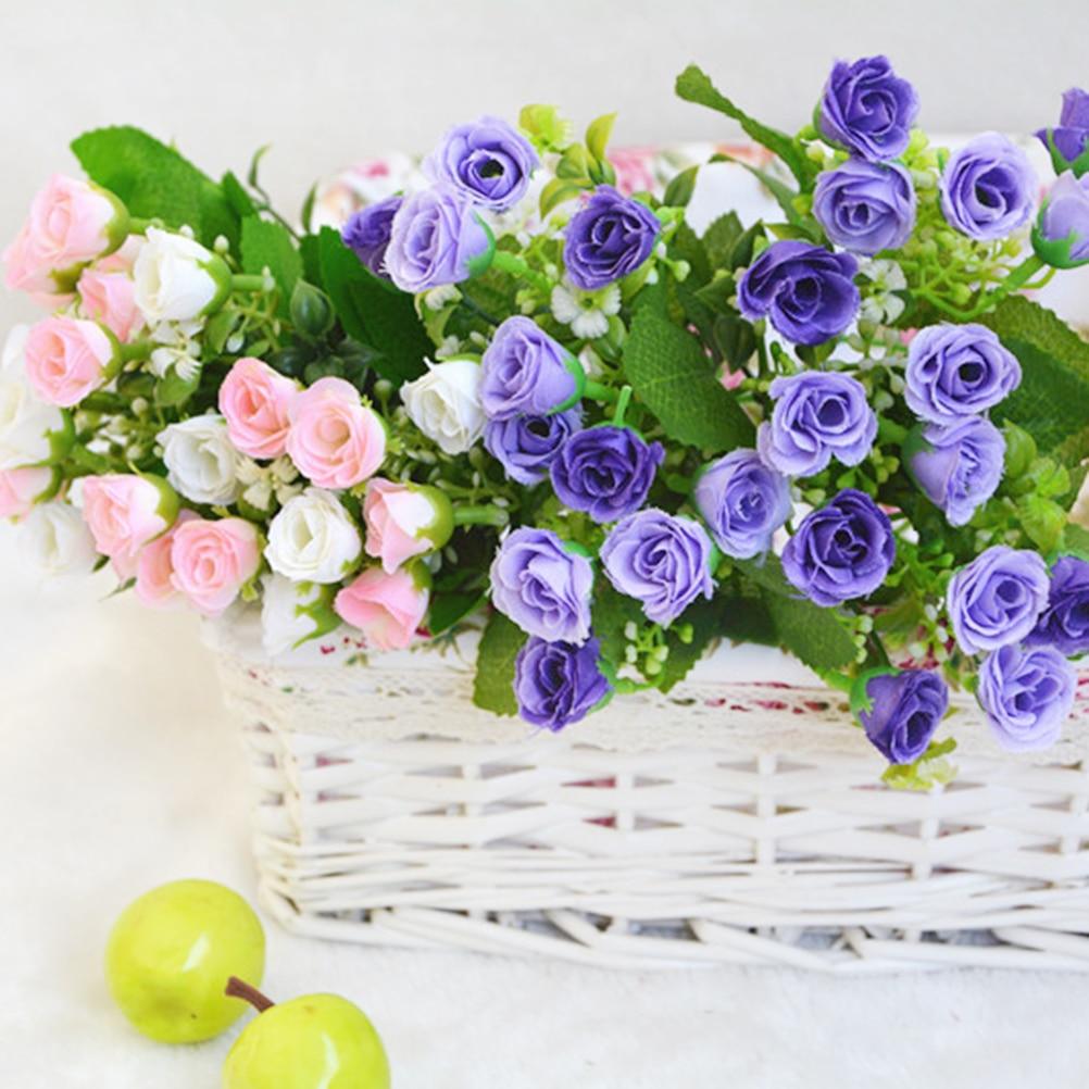 1ชิ้นดอกไม้ประดิษฐ์ดอกไม้ผ้าไหมยุโรปฤดูใบไม้ร่วงสดใส25หัวขนาดเล็ก
