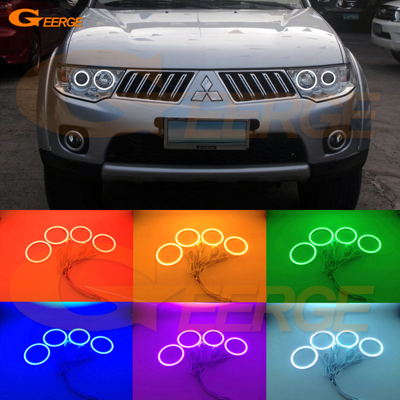 For Mitsubishi Challenger Pajero Sport 2008-2014 Excellent Angel Eyes Multi-Color Ultra bright RGB LED Angel Eyes kit Halo Rings накладки на пороги mitsubishi pajero sport ii 2008 carbon