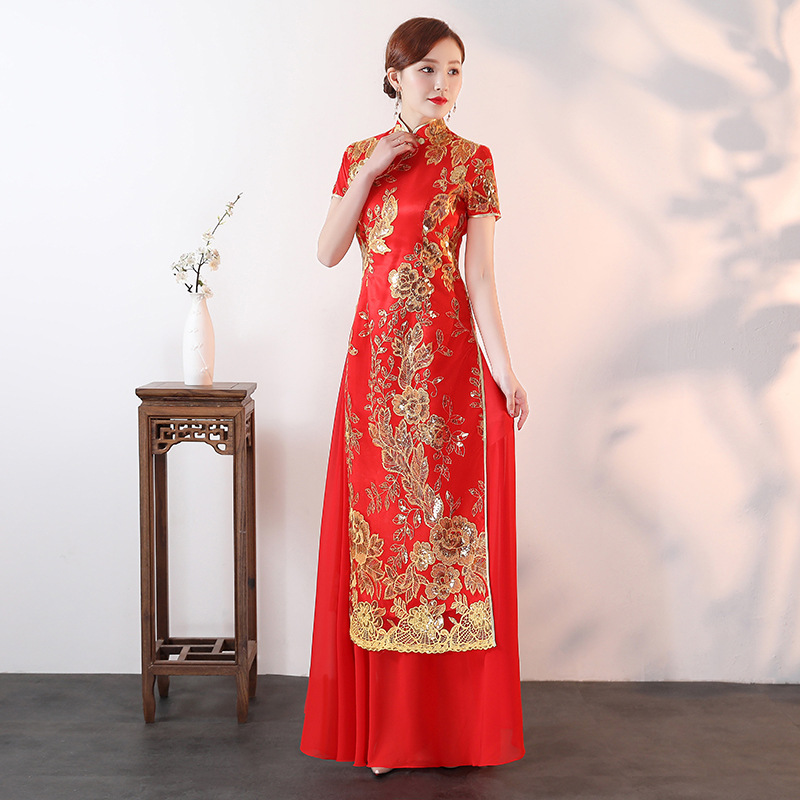 Chinese Classic Lady Slim Long Cheongsam Women Casual Lace Sexy Qipao Mandarin Collar Short Sleeve Dress