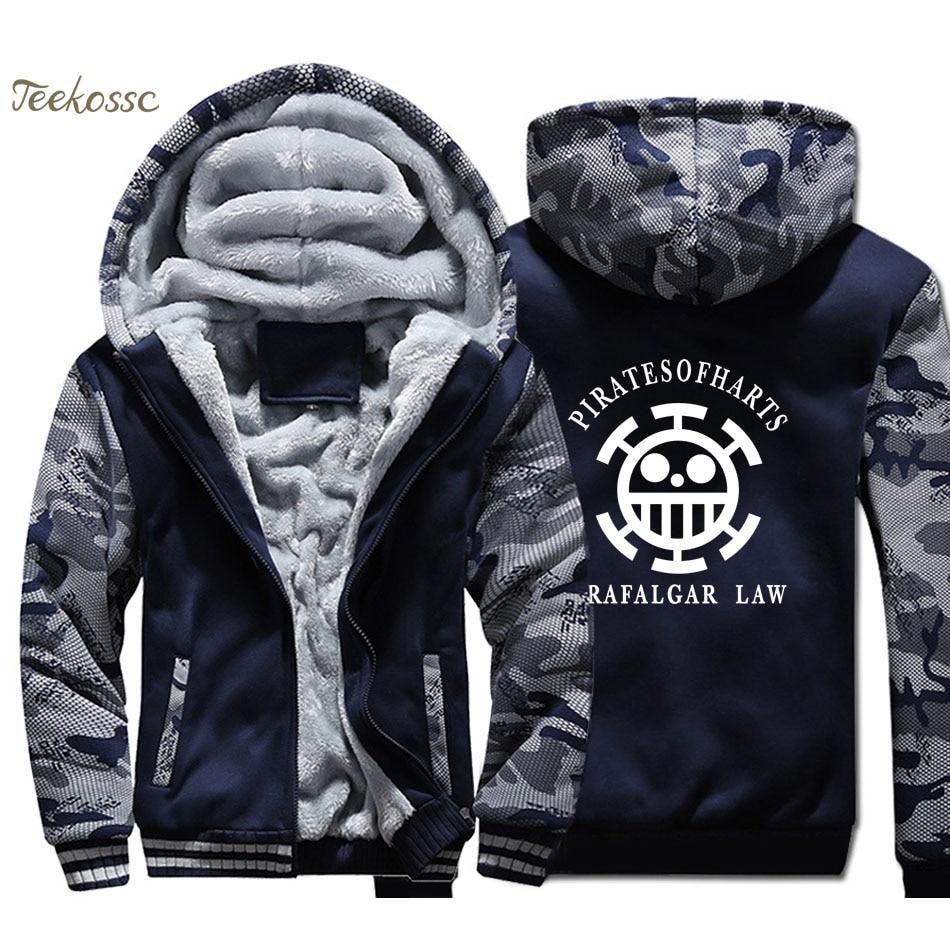 One Piece Hoodie Men Japan Anime Trafalgar Law Hooded Sweatshirt Coat 2018 Winter Warm Fleece Thick The Pirate King Luffy Jacket