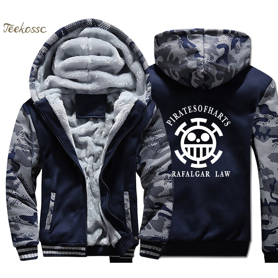 One Piece Hoodie Men Japan Anime Trafalgar Law Sweatshirt Coat 2018 Winter Fleece Harajuku Zipper The Pirate King Luffy Jacket