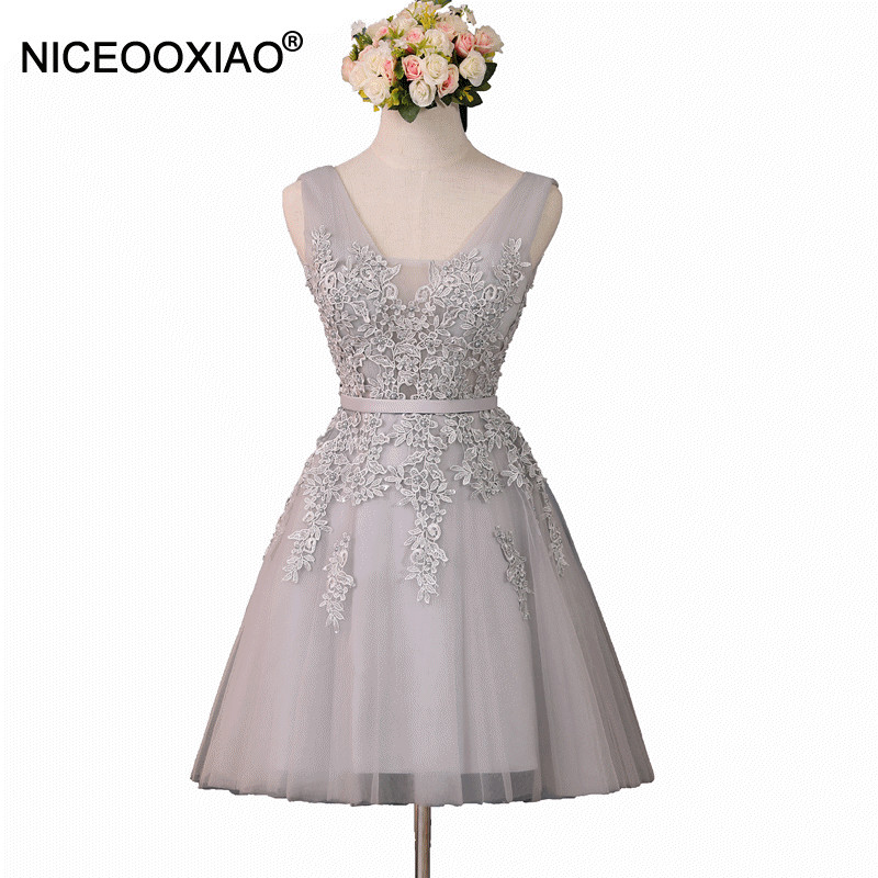 NICEOOXIAO 2019 Grey Short   Evening     Dress   2019 Women Sexy Formal   Dress   Lace Beaded Party Gown   Evening   Gowns   Dresses   Plus Size 69