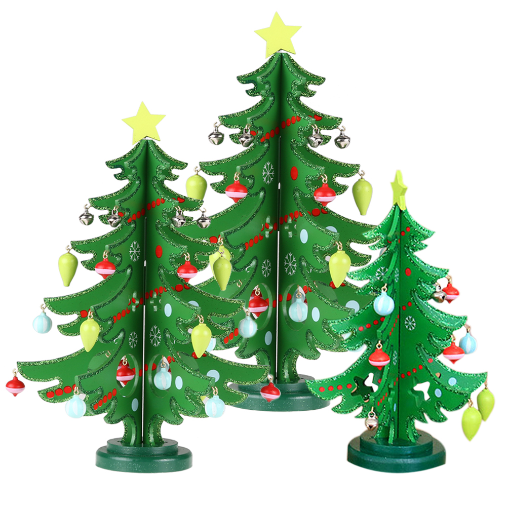 2017 1pcs Cartoon Wooden Christmas Tree Home Decoration New Year Xmas Tree  Top Ornament Gift For Children Holiday Supplies