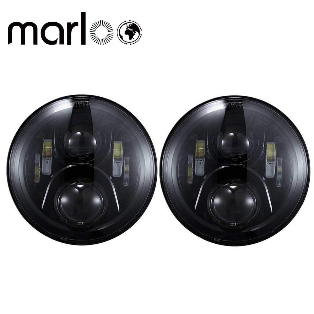 Marloo DOT 7 Inch Round 120W LED Headlight For Jeep Wrangler JK TJ Harley Motorcycle Defender Hummer 7 Daymaker Headlights 75w 5d 7 inch round led projector daymaker headlight for jeep wrangler jk land rover defender 90