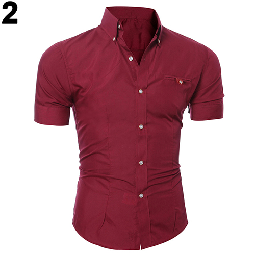 2016 Newest Men's Bussiness Lapel Button Down Short Sleeve Top Blouse Casual Solid Shirt