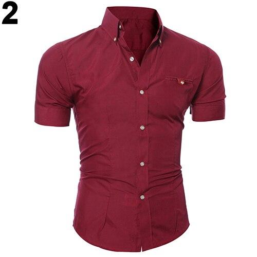2016 Neuesten Männer Bussiness Revers Knopfleiste Short Sleeve Top Bluse Casual Feste Shirt