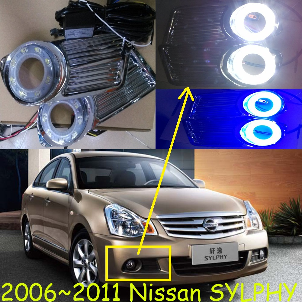 Car-styling,Sylphy daytime light,2006~2011,chrome,car-detector,LED,Free ship!2pcs,Sylphy fog light;car-covers,Sylphy,bluebird car styling sylphy daytime light 2006 2011 chrome car detector led free ship 2pcs sylphy fog light car covers sylphy bluebird