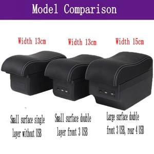Image 2 - For Opel Corsa Armrest Box Opel Corsa D Universal Car Central Armrest Storage Box cup holder ashtray modification accessories