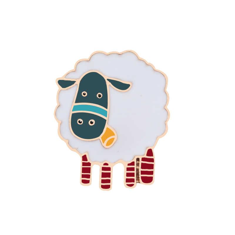 漫画蜂ニホンジカ鹿羊白鳥フラミンゴのブローチかわいいベアファミリーラペルバッジエナメルピンボタンアクセサリー