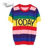 Summer Fashion Streetwear Women Colorful T Shirt Rainbow Striped Today Letter Casual T shirt Harajuku Tumblr Tops Tees B 088