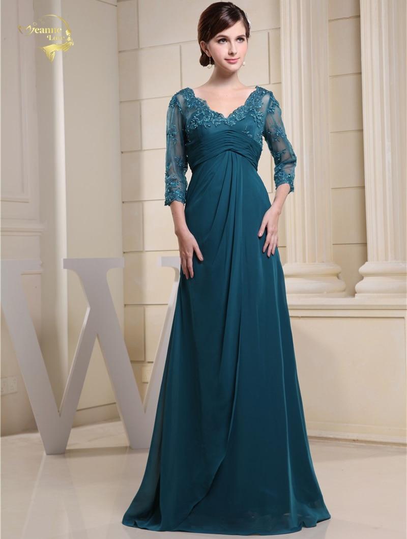 2019 New Design Vestidos De Festa Dark Green Chiffon Three Quarter Backless  Chiffon Formal Evening Dresses 9359334f9d3b