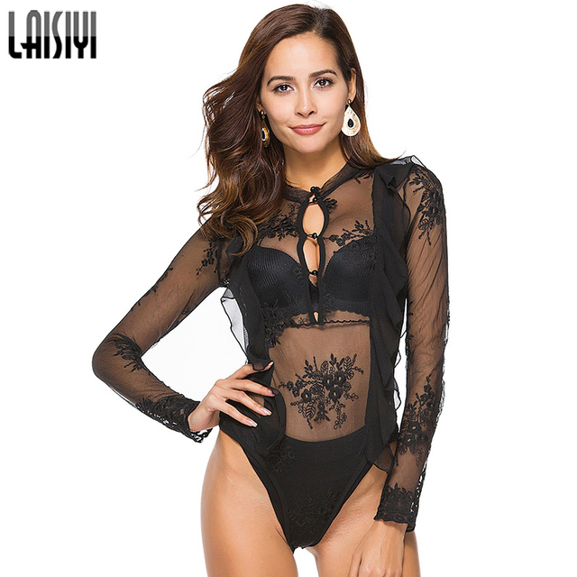 0f843c8d3274 LAISIYI Sexy Club Lace Long Sleeve Bodysuits Women Embroidery Transparent  Ruffles Fitness Jumpsuit Black Rompers ASJU20208
