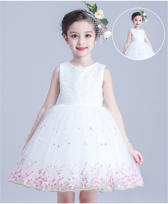 Summer Girl Formal Dress Ceremony Ball Gown Girls Clothes New Children White Flower Lace Wedding Birthday Dresses For Girls Kids girls dresses 2017 summer new lace speaker sleeves children dress cute embroidered girl dress floral child ball gown party dress