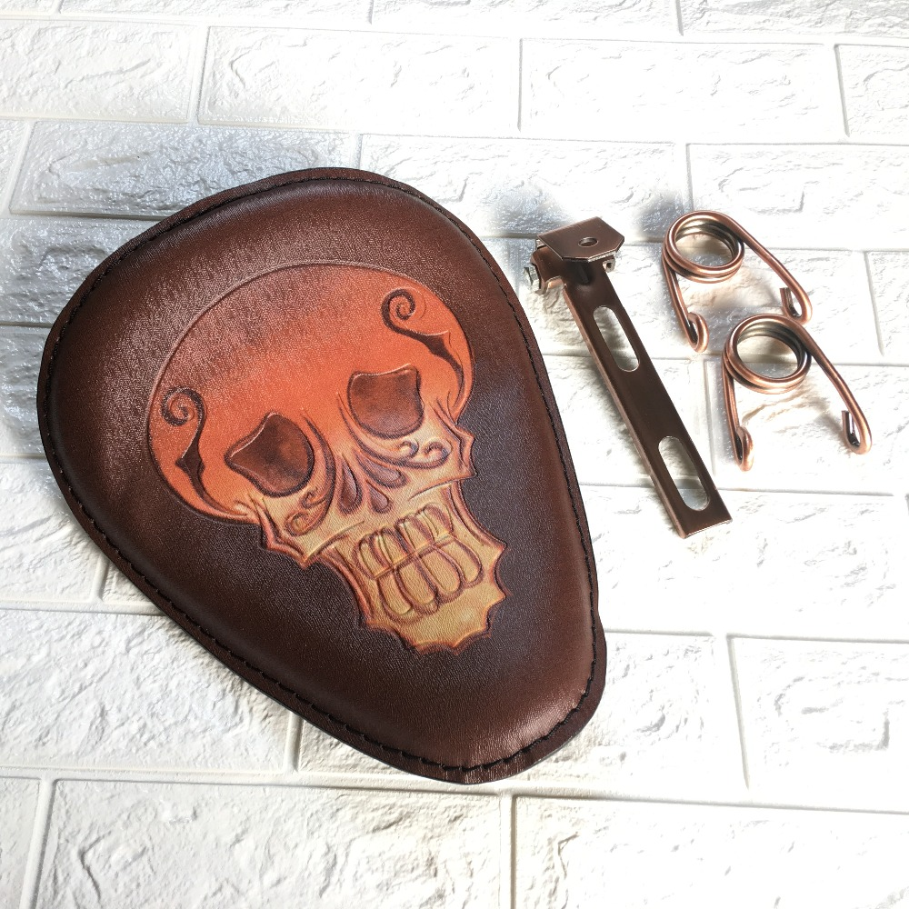 1set Motorcycle Brown Retro Leather Skull Logo Solo Saddle Seat + 3