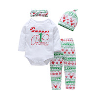 Pink Red Long Sleeve Cute Suit Girl Infant Suit Elk Jeans Sets Newborn Christmas Bedding Set