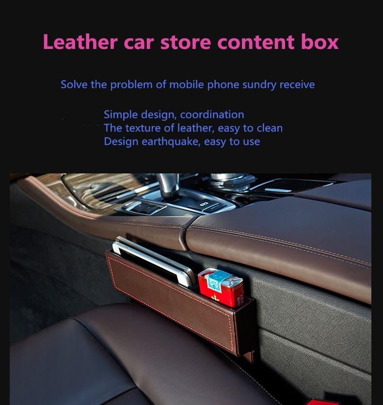 Multi-Purpose Leather Car Seat Storage Box Organizer