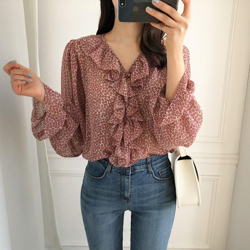 Elegant V-neck Ruffles Women Chiffon Blouse Shirts Summer Flare Sleeve Floral Print Female Shirts Tops 2019 Casual Blouses femme