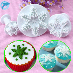 LINSBAYWU 3pcs/lot  Snowflake Mould Fondant Cake Decorating Sugar craft Cutter Plunger Mold #157