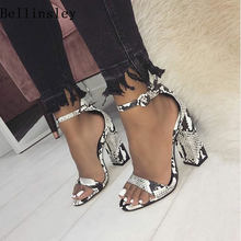 Shoes Woman 2019 Summer Gladiator Sandals Women Open Toe Thick High Heels  Snakeskin Sandals Buckle Strap Heels Party Pumps Shoes 230bb9c45a4c