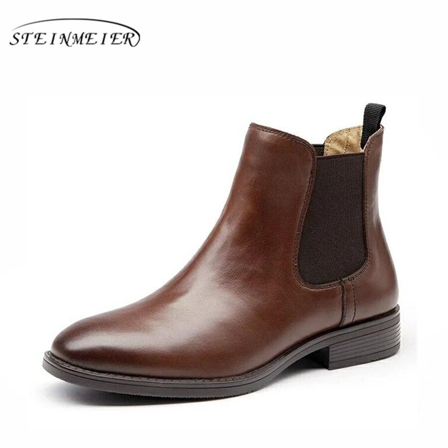 Genuínos Ankle Boots de Couro botas Chelsea qualidade Confortável macio Sapatos marrom preto com botas de pele 2018 primavera