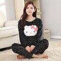 Pijama de Flanela Cheia Gatinho Impresso Pijamas pijama Para Mulheres Trajes Adultos SleepWear Pulôver E Calças Set Homewear