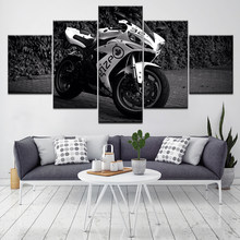 Wall Art Home Decoration Painting HD Print 5 Pieces/Pcs Motorcycle Racing Modern Poster Canvas Cuadros Modular Picture For Gift(China)