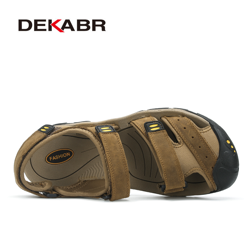 Image 2 - DEKABR New Fashion Summer Shoes Cow Leather Men Sandals Mens Casual Shoes Non slip Rubber Soles Beach Shoes Plus Size 38 ~ 47-in Men's Sandals from Shoes