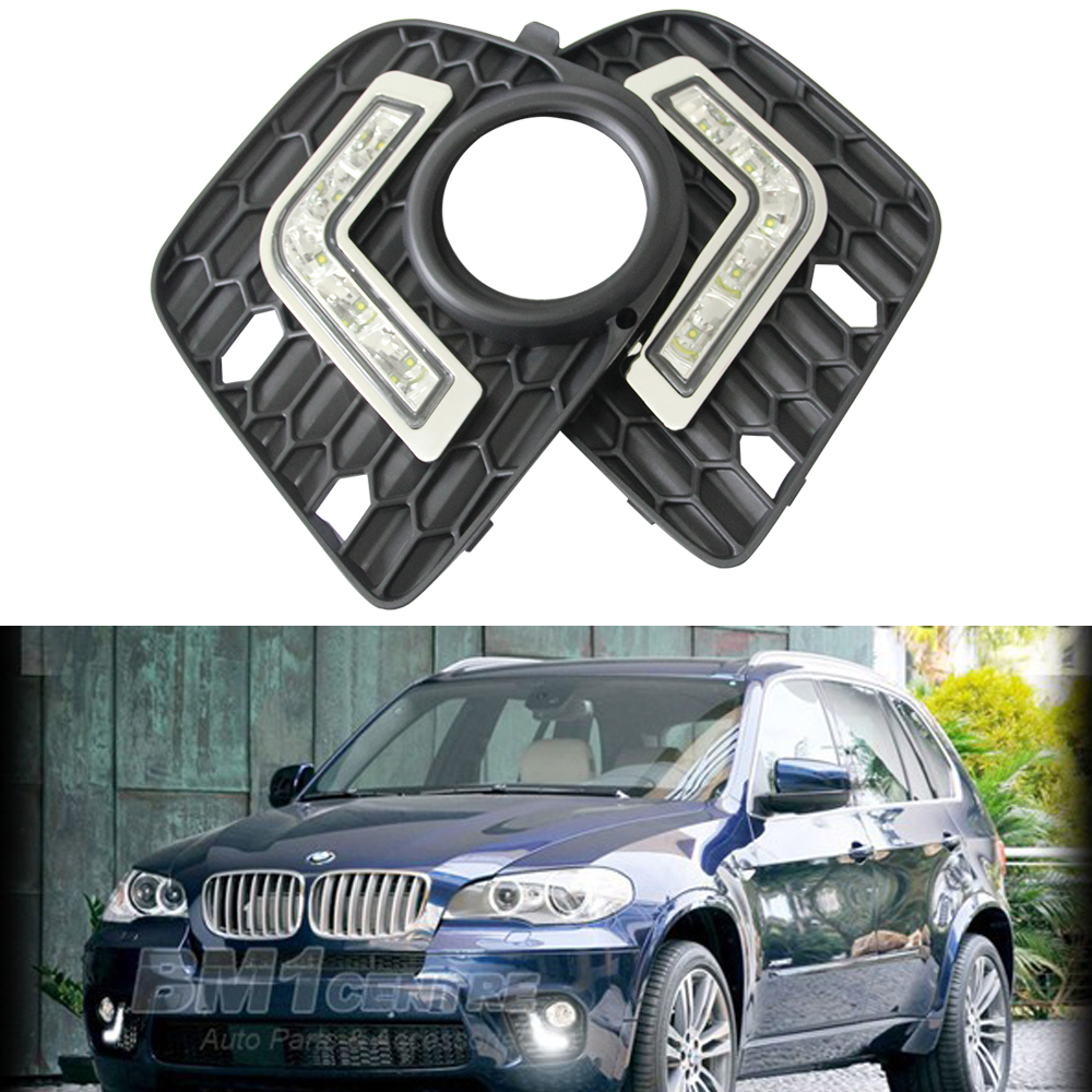 2017 Hot Sale 2PCS Super White 5 LED Cree Chips E70 NT Car Daytime Running Light Auxiliary Lamp for BMW X5 drl led light oem fit car daytime running light 6 led drl daylight kit for for bmw x5 e70 07 09 super white 12v dc head lamp
