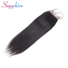 Sapphire 100% Brazilian Human Hair Straight 8-20 Inch 4*4 Lace Closure Natural Color Non-Remy Hair Weaving 1PC/Lot Free Shipping(China)