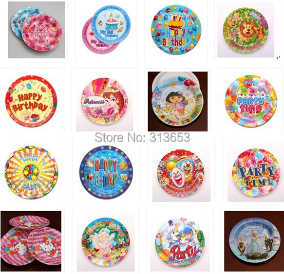 wholesale 2100pcs birthday party decoration paper plate paper dishes for kids children cartoon pink blue yellow - Decorative Paper Plates