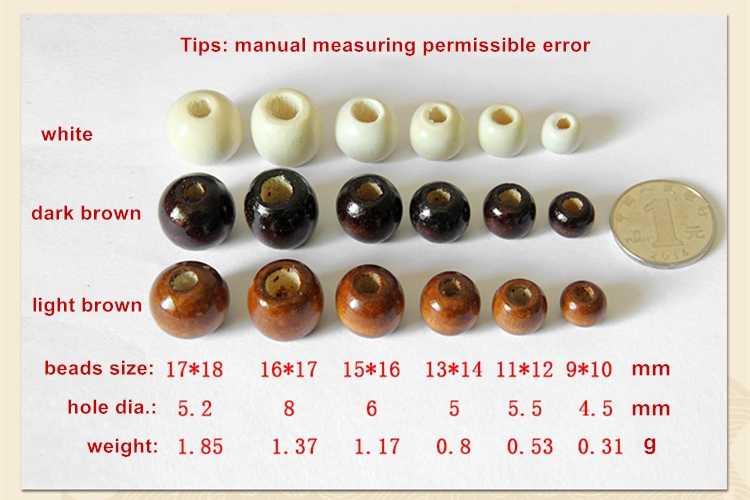 100 Uds venta al por mayor 9*10/11*12/13*14/15*16/17*18mm cuentas espaciadoras de madera redondas hechas a mano para hacer joyas collar Accesorios