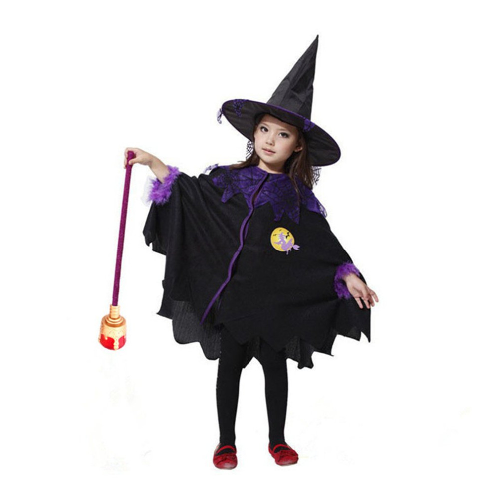Children Halloween Cosplay Coat Cloak With Hat Costumes Witch Wizard Cloak Gown Robe Chirstmas Dress Girls Performance GIFTS