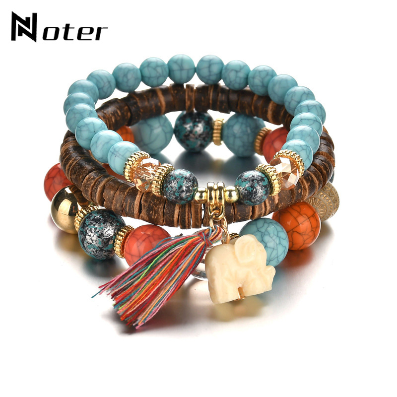 Bohemia Multilayer Bracelet Set Natural Stone Bracelet Charm Brown Wooden Bead Braslet For Women Jewelry Accessories