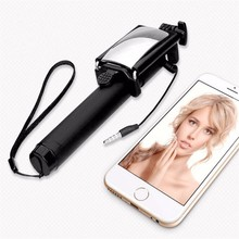Mini Foldable Wired Selfie Stick Cable Extendable Built-in Mirror Shutter Stick For Android and IOS Smartphone with Black Color