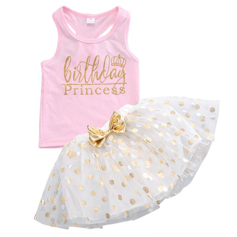 2Pcs Summer Toddler Baby Kids Girls Outfits Vest Tops+Tulle Tutu Skirt Set 1-6Y