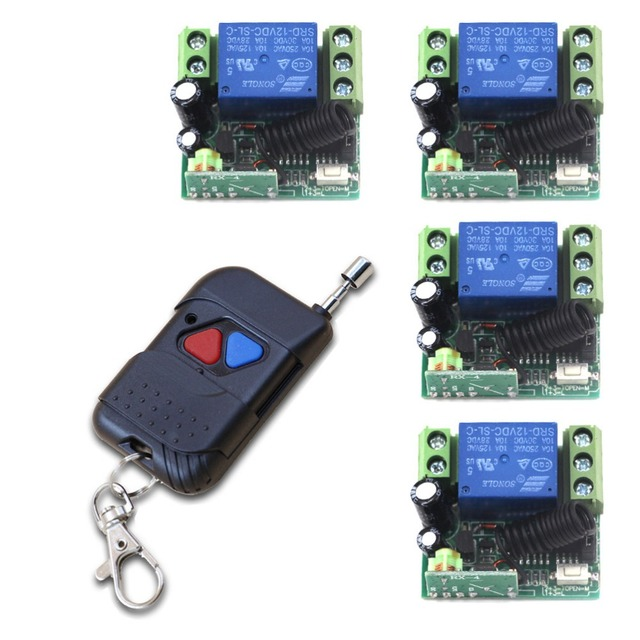 DC 12V Mini Wireless Remote Control Switch 1Channal Intelligent Family System 4X Receiver +Case +1X Transmitter with 2 Buttons