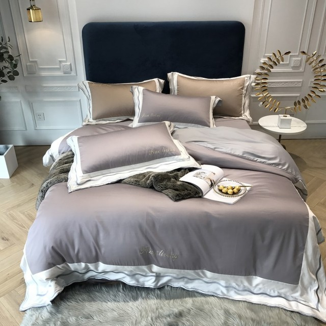 Gray pink red Bedding Set Queen King size Bed sheet set Luxury Egypian cotton Embroidery Bedding sheet Duvet Cover set