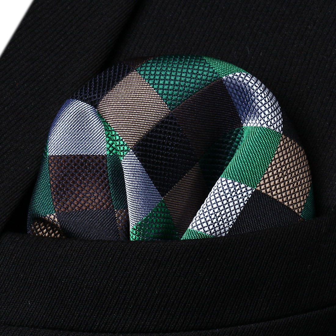 HC709Z Brown Green Black Check Men Silk Party Handkerchief Pocket Square Hanky